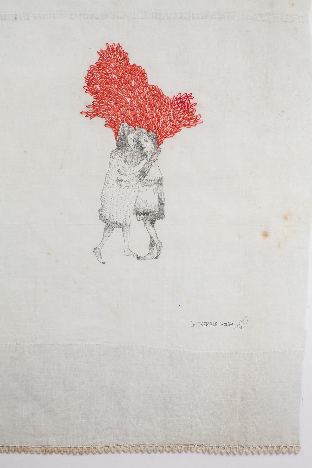 art textile - Le tremble rouge- hélène duclos