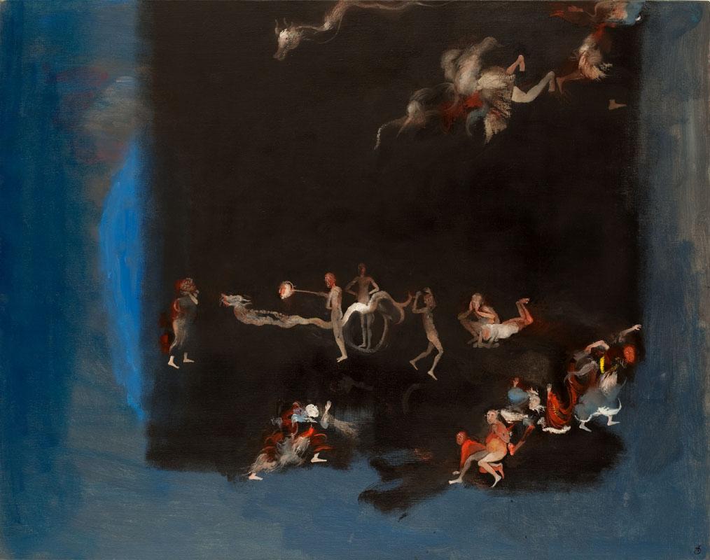 Série : peuples dehors / Peuple en exil, 2 - huile sur toile - hélène duclos