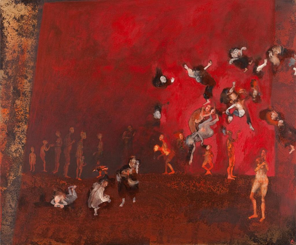 Série : peuples dehors / Peuple en exil, 5- huilse sur toile - Hélène Duclos