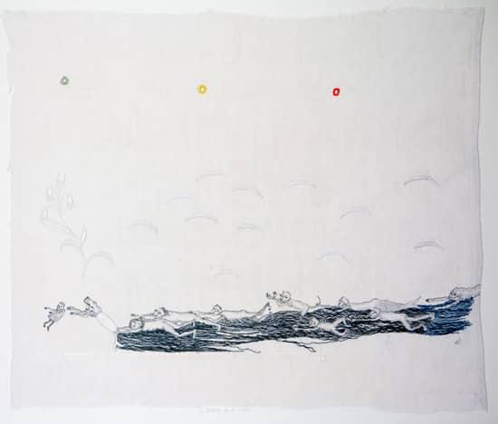 art textile-L'histoire de la rivière- - hélène duclos